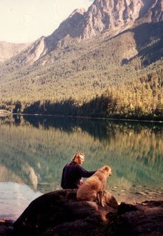 mountains, dogs, and water