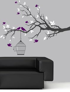"Wall Decal - Tree Branch Wall Art Sticker Purple Birds White Leaf Vinyl Wall Decals 62"" x 48"" - $69.00"