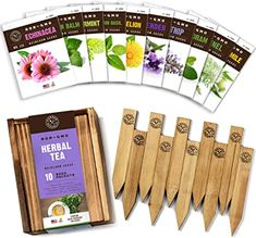 Amazon.com : Herb Garden Seeds for Planting - 10 Medicinal Herbs Seed Packets Non GMO, Wood Gift Box, Plant Markers - Herbal Tea Gifts for Tea Lovers, Herb Growing Kit Indoor Garden Starter Kit : Garden & Outdoor Herb Seeds, Garden Seeds, Fennel Seeds, Mint Plants, Herb Plants, Planting Plants, Chamomile Growing, Wood Gift Box, Lemon Balm Tea