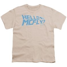 Back To The Future/Hello Mcfly Short Sleeve Youth 18/1 in Cream, Beige