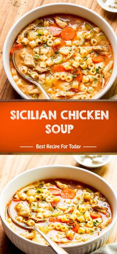 Sicilian Chicken Soup made easily on the stove top or in the slow cooker or Instant Pot. This healthy chicken soup recipe is comforting on winter nights. Granny's Recipe, Chicken Pasta Recipes, Best Chicken Soup Recipe, Celery Rib, Cooking Recipes, Healthy Recipes, Yummy Recipes, Salad Recipes, Soup And Sandwich