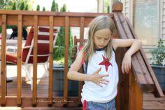 T-Shirt, Refashion, tutorial, Patriotic, July 4 kids shirt,