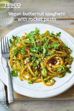 Looking for a pasta alternative? Try this carb-free butternut spaghetti recipe, served with a vibrant rocket and hazelnut pesto. This vegan recipe celebrates veg, using a spiraliser or peeler to create vegetable spaghetti strands. | Tesco