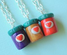 Peanut Butter and Jelly Jars 3 Piece Trio Best Friend Necklaces Friendship Jewelry Kawaii Food Miniature Jewelry Bff Necklaces, Best Friend Necklaces, Best Friend Jewelry, Cute Necklace, 3 Best Friends, Cute Friends, Kawaii Crush, Boo Costume, Biscuit