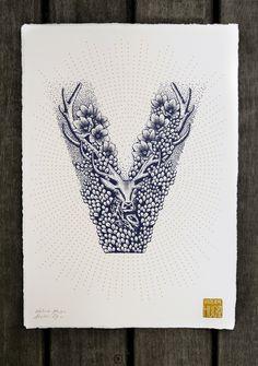 ALPHABET - VALERIE HUGO  lettre V cerf affiche sérigraphie typographie