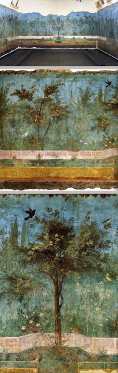Garden fresco from the Villa of Livia in Prima Porta, Italy covered the walls of a semi-subterranean chamber, probably a cool triclinium (dining room) for summer banquets, in the suburban villa of Livia Drusilla, third wife of Roman Emperor Augustus. This Second style fresco, the most ancient example of continuous garden painting (30 - 20 BCE), presents a variety of plants & birds rendered in a delicately detailed & naturalistic way. Museo Nazionale Romano, Rome, Italy #art