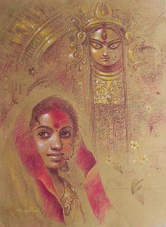 Painting by Subrata Das - Bengal; Durga Puja.....