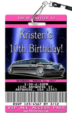 Limousine limo birthday party invitations girl bachelorette bridal limo stopboris Image collections