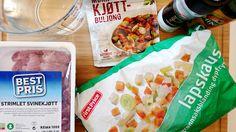 Til middag og lunsj for to personer Du trenger: 500 g kjøtt (jeg brukte strimlet svin...