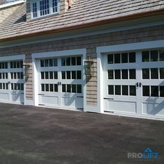 Fashioned in a charming carriage house design, these gorgeous garage doors are constructed with premium steel for energy efficiency, ease-of-care and long-lasting durability. | Project and Photo Credits:  ProLift Garage Doors of St. Louis