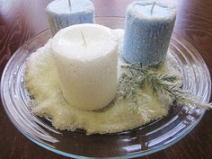 White and blue candles covered with epsom salt, dollar store plate for display