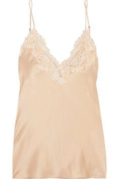 La Perla - Maison Lace-trimmed Silk-blend Satin Camisole - Gold - 1
