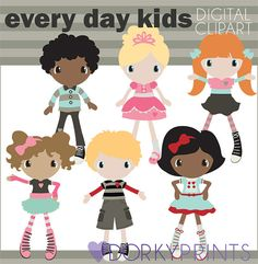 Cute Kids Digital Clip Art Set  -Personal and Commercial Use- Girls and Boys - Instant Download