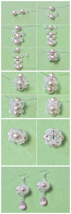 #Beebeecraft tutorials on how to Make a Pair of Small Pink Beaded Ball #DanglingEarrings