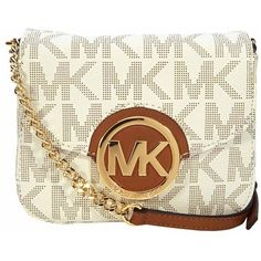 MICHAEL Michael Kors MK Signature Small Crossbody ($148) ❤ liked on Polyvore featuring bags, handbags, shoulder bags, chain crossbody, leather cross body purse, crossbody handbags, leather crossbody and leather shoulder handbags