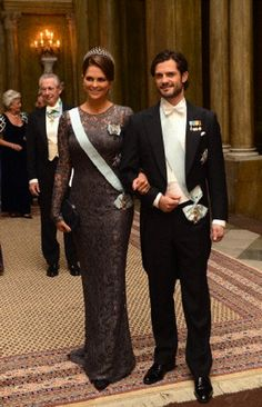 Swedish Princess Madeleine and Prince Carl Philip arrive for the royal banquet held for Nobel laureates at royal palace in Stockholm on 11 Dec 2012