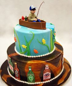 thinking about surprizing jonny with a grooms cake... kinda like this but 3 layers one layer with poker cards, one with fishing and the top one about golf & hockey