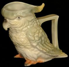 "5"" ROYAL BAYREUTH (BLUE MARK #15) FIGURAL COCKATOO MILK PITCHER"