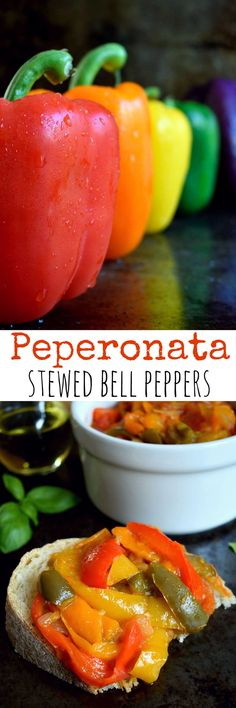 Peperonata is a rustic Italian dish of slow-stewed sweet bell peppers. Serve as an appetizer, side or main; on pasta or in a sandwich; or simply on a thick slice of crusty bread.