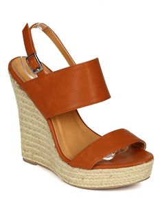 Liliana CD65 Women Leatherette Open Toe Strappy Espadrille Slingback Wedge Sandal - Cognac ** Continue to the product at the image link.