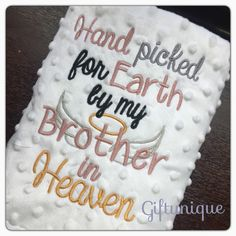 A personal favourite from my Etsy shop https://www.etsy.com/uk/listing/464308100/personalised-baby-blanket-picked-for
