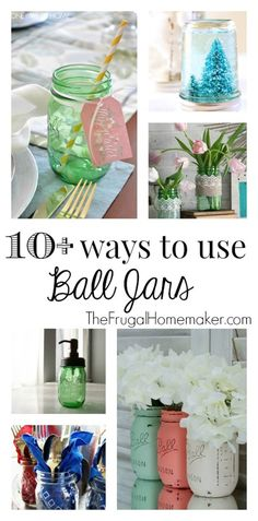 ways to use Ball Jars (+ enter to win your own green vintage Ball jars! Mason Jar Gifts, Mason Jar Diy, Bottles And Jars, Glass Jars, Vases, Pots, Mason Jar Projects, Ball Jars, Canning Jars