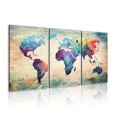 XXL Format + Impression sur toile + Images + 3 parties + carte du monde + TABLEAU + 020113-50 + 120x60 cm +++ CHOIX ÉNORME DES IMPRESSIONS ARTISTIQUES DANS NOTRE BOUTIQUE +++: Amazon.fr: Cuisine & Maison