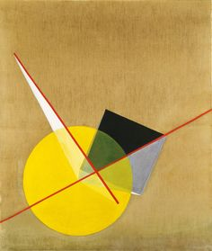 László Moholy-Nagy (Hungarian, 1895-1946) | Yellow Circle, c.1921 | Oil on canvas | The Riklis Collection of McCrory Corporation