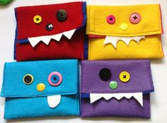 Felt Monster Purses. Red, yellow, purple and blue