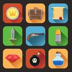 Game Resources Icons Flat