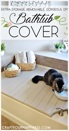 If you have a bathtub or garden tub you don't use often, learn how to increase your space by making a beautiful inexpensive removable wood bathtub cover. Can be used on a temporary basis or permanent one. Wood Bathtub, Bathtub Decor, Diy Bathtub, Sunken Bathtub, Concrete Bathroom, Bathroom Faucets, Bathtub Cover, Bathtub Storage, Anew Gray