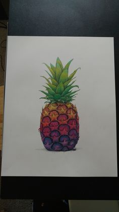 "#Pineapple. Pen and colored pencil.19""x24"" Repin and follow!"