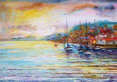 """Seaport 1""----- Art by Gabriela Calinoiu------Pictura in acuarelă www.galeriagabriela.wordpress.com Wordpress, Painting, Painting Art, Paintings, Painted Canvas, Drawings"