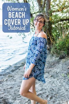a simple Women's Beach Cover Up Tutorial...free PDF pattern pieces included!   via Make It and Love It