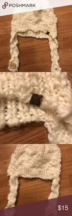 Empyre crocheted beanie White crocheted beanie with button!  Empyre brand.  In great condition! Empyre Accessories Hats