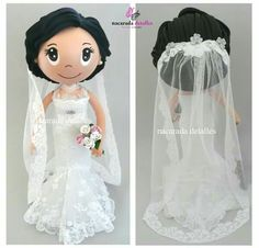 Novia Wedding Doll, Wedding Bride, Wedding Topper, Clothespin Dolls, Pasta Flexible, Cold Porcelain, Cake Templates, Foam Crafts, Diy Crafts
