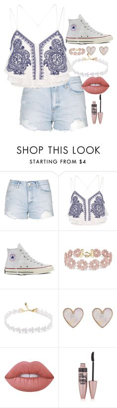 """Im Back"" by bbgshyia on Polyvore featuring Topshop, River Island, Converse, BaubleBar, New Look, Lime Crime and Maybelline"