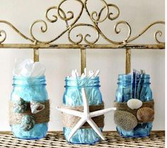 Beach decor ideas diy beach decor beach themed bathroom mason jar storage set craft on home decorating ideas Seashell Bathroom Decor, Beach Theme Bathroom, Beach Bathrooms, Diy Bathroom Decor, Bathroom Ideas, Bathroom Storage, Bathroom Towels, Bling Bathroom, Beach House Bathroom