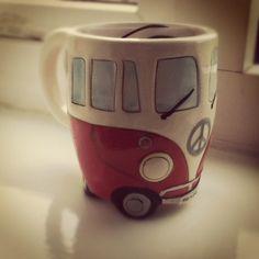 Volkswagen bus coffee my. Cute Coffee Mugs, Cool Mugs, I Love Coffee, Tea Mugs, My Coffee, Coffee Shop, Coffee Cups, Pottery Mugs, Ceramic Pottery