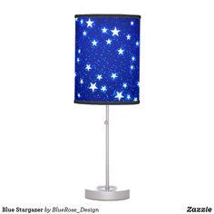 Blue Stargazer Table Lamp Decorative Lamps, Linen Lamp Shades, Incandescent Light Bulb, Stargazer, Rice Paper, Christmas Card Holders, Keep It Cleaner, Colorful Backgrounds, Original Artwork