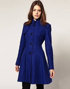 I love fit and flare coats in jewel tones and black. Not crazy about the military accents though.