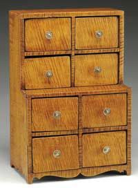 TIGER MAPLE SPICE CABINET. Mid 19th century