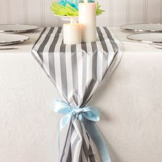 This beautiful striped satin table runner is a great addition to any baby shower tablescape. Baby Shower Gift Bags, Baby Shower Drinks, Baby Shower Party Favors, Baby Shower Parties, Baby Shower Invitations, Babyshower Invites, Bridal Shower, Baby Shower Wall Decor, Baby Shower Table