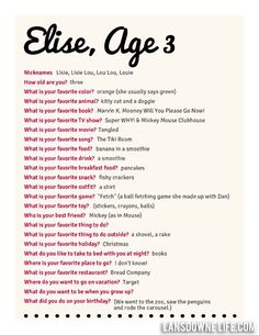 Lansdowne Life: Kids birthday interview questionnaire: FREE printable form!
