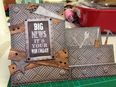 Tool stepper card using Craftwork Cards Man Made collection kit.