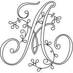 Free Delicate Flower Spray Monograms for Hand Embroidery,  from needlenthread.com. See website for the rest of the letters.