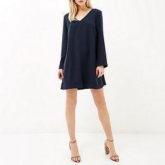 Navy V-neck swing dress - day / t-shirt dresses - dresses - women