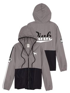 Victorias Secret PINK Anorak Full Zip Jacket Windbreaker Black/Gray XS/Sm NEW in Clothing, Shoes & Accessories, Women's Clothing, Coats & Jackets | eBay