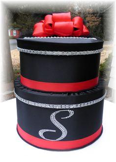 Stunning Wedding Card Money Box RED BLACK by WeddingsofDesign