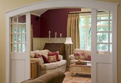 love the sliding double doors  Traditional Family Room Design Ideas, Pictures, Remodel, and Decor - page 19